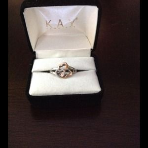 Open Hearts Ring Diamond Sterling Silver/14K Gold