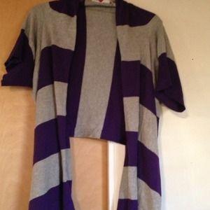 Purple & Grey Cardigan sweater