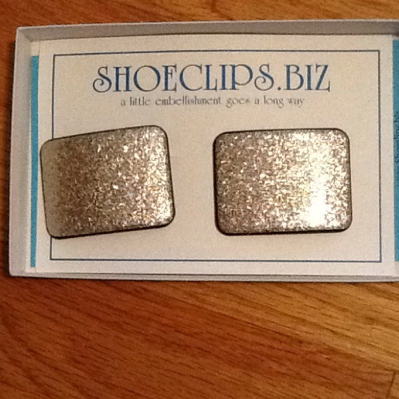 shoeclips Accessories - Silver glitter rectangle shoe clips