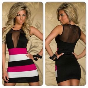 Dresses & Skirts - Sexy Pink Black White Color Block Mini Dress