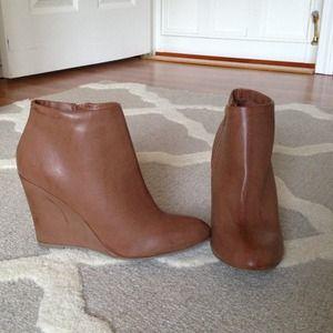 Tan wedge booties