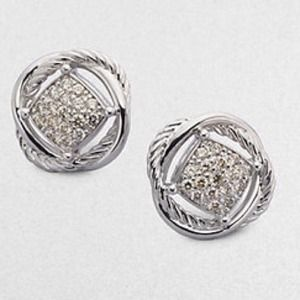 David Yurman Pave Diamond Sterling Silver Earrings