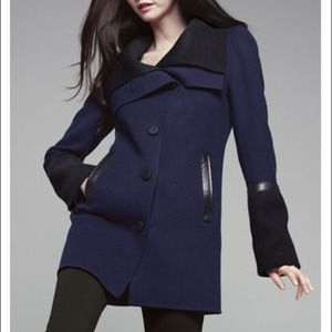 Mackage wool jacket with leather trim!