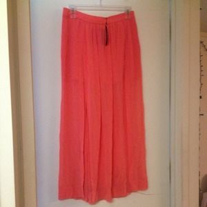 Zara Woman's Large Coral Maxi Skirt w/ Slits - NWT
