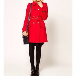 ASOS cute military fit and flare cost- Red/US4