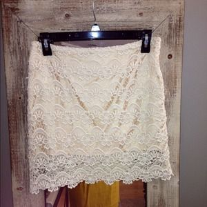 Trendy Cream Lace Mini Skirt