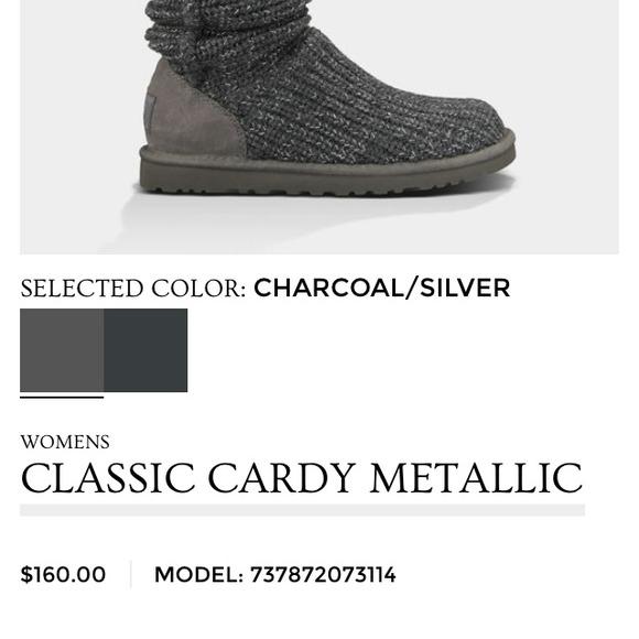 ugg classic cardy charcoal metallic