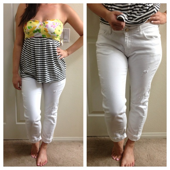 57% off Zara Denim - Zara White Distressed Boyfriend Jeans from ...