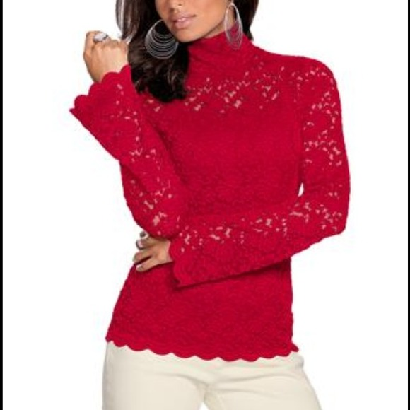 49% off Metrostyle Tops - Red Lace Blouse-ON SALE from Ana's ...