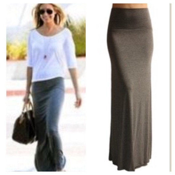 54% off Dresses & Skirts - Grey long flap waist maxi skirt from ...