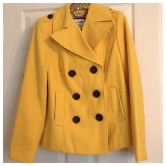63% off Old Navy Outerwear - Old Navy Mustard Yellow Pea Coat - M ...