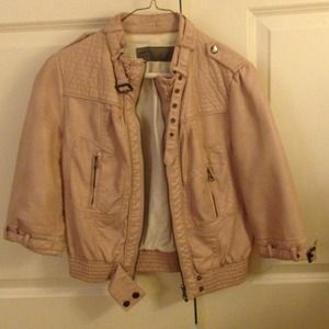 Zara Light Mauve Pink Leather Jacket