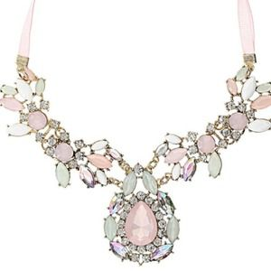 Ethereal pink and white rhinestone necklace