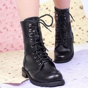 New black medium long faux leather lace up boots