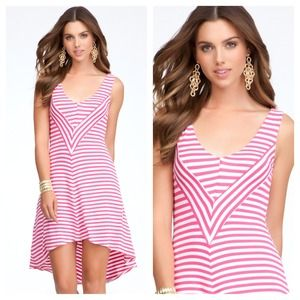 New bebe hi low stripe chevron dress❤❤❤