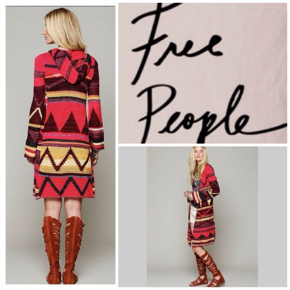 29% off Free People Sweaters - Free People Aztec Print Long Hooded ...