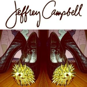 Jeffrey Campbell Shoes - JEFFREY CAMPBELL Battle Spike Pump Black Leather