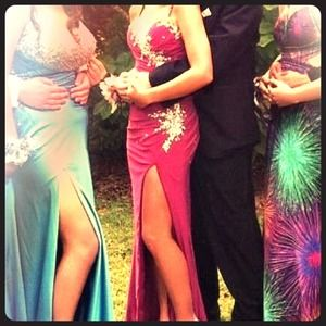 Beautiful plum colored prom dress. Sparkly!