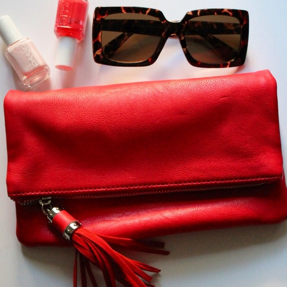 Clutches & Wallets - •SOLD•Vibrant Coral Fold Over Clutch