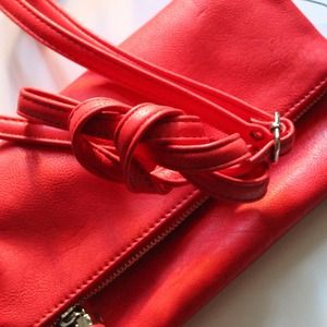 Bags - •SOLD•Vibrant Coral Fold Over Clutch