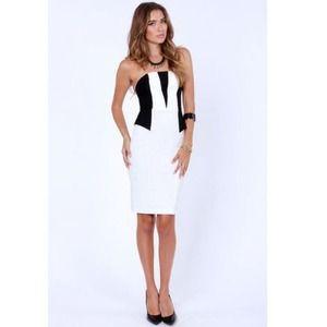 Black & White Peplum Strapless Dress Small