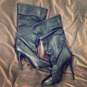 ALDO Black Leather Boots - Size 38