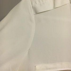 3ffbada32a0e12 Theory Tops | Brundia White Silk Top Gold Zipper Detail | Poshmark