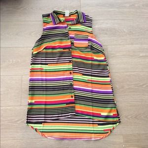 Tops - *SOLD*Colorful bright Hi-lo striped button up