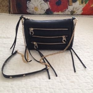 Black and Gold Crossbody Bag with Chain