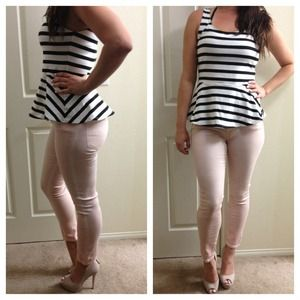Express Striped Peplum Top