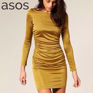 🎉❤️HOST PICK❤️🎉 NEW Ruched Olive Gold Mini Dress