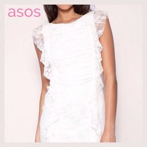 ❤️HOST PICK❤️ ASOS Lace Ruffle Cream Mini Dress