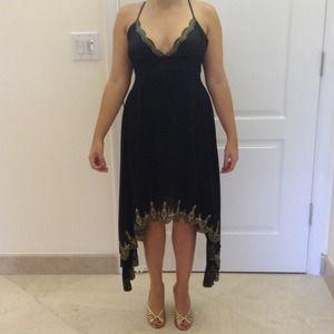 Dresses & Skirts - Asymmetric bottom, gold embroidered juniors dress
