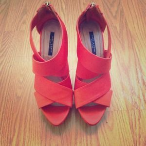 Zara orange high heel sandal