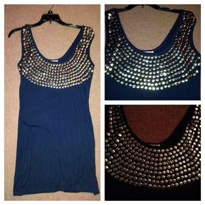 Navy Blue Dress with Silver Metal Circle Details