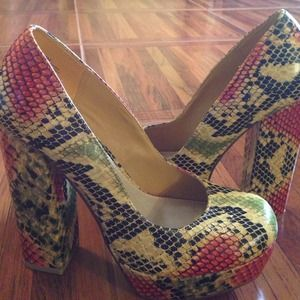 Multi colored uptown girl platforms