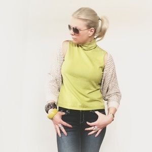 Tops - Soft beautiful lime beaded neckline top