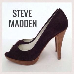 Steve Madden Chocolate Suede Peep Toe Pumps
