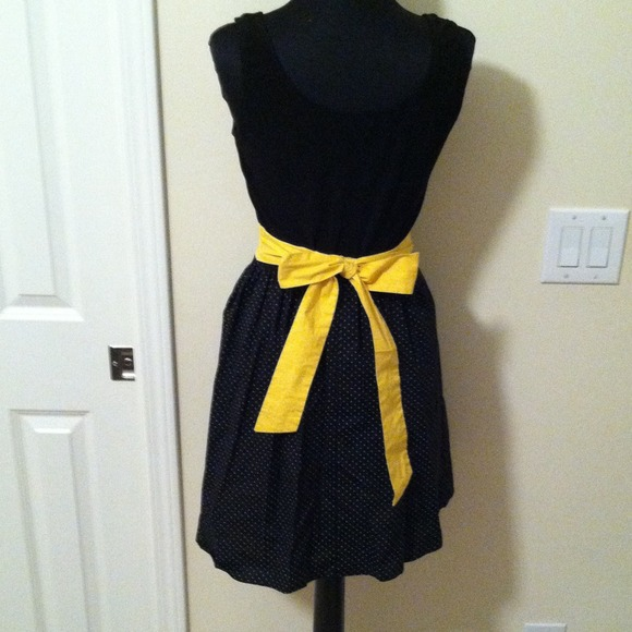 ruby black dress polka dots yellow belt from