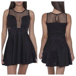 Sexy Black Skater Dress w Mesh LBD