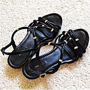 Black/Gold Flat Sandals