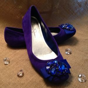 Jessica Simpson Shoes - Reserved 4 trade @tamuho Jeweled Blue Suede Flats