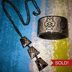 Snakeskin Embossed Cuff & Long Necklace Bundle
