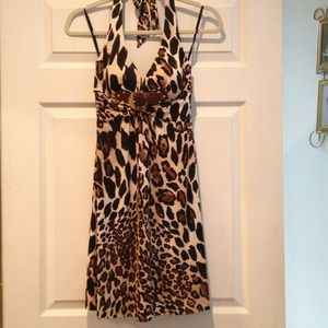 Cache animal print halter dress