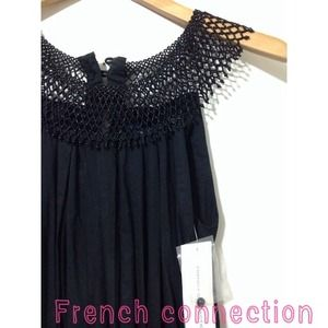 🌟French Connection beaded collar black dress sz 0