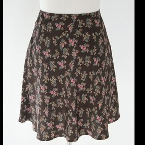 Brown Floral Skirt