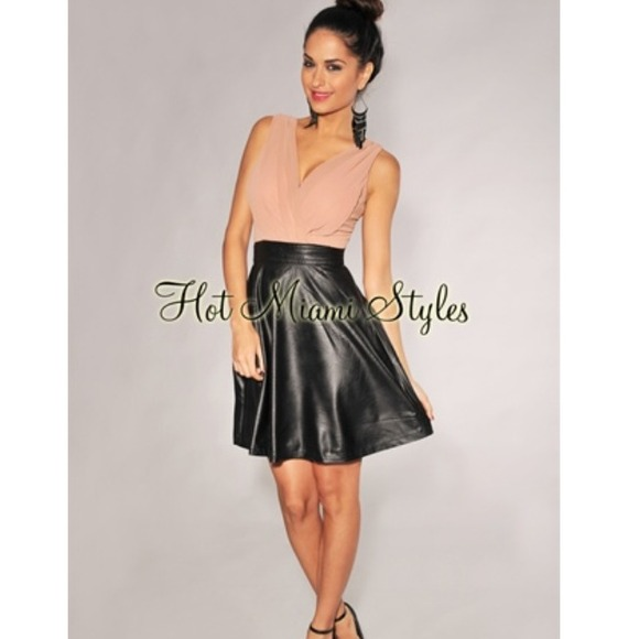 25% off Hot Miami Styles Dresses & Skirts - Blush black Faux ...