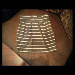 Pleated striped mini skirt