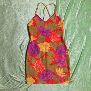 Vintage Orange Pink & Gold Neon Floral Sun Dress