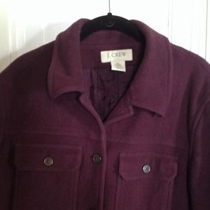 J Crew wool coat in aubergine!!